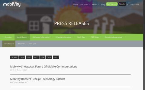 Screenshot of Press Page mobivity.com - Press Releases :: Mobivity Holdings Corp. (MFON) - captured Oct. 20, 2017