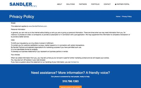 Screenshot of Privacy Page sandlerpartners.com - Privacy Policy | Sandler Partners: Telecom and Cloud Master Agency - captured May 20, 2016
