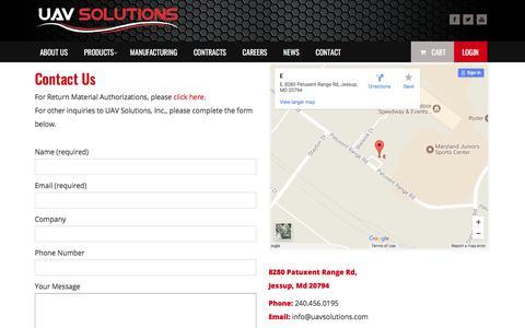 Screenshot of Contact Page uav-solutions.com - Contact - UAV Solutions StoreUAV Solutions Store - captured Jan. 5, 2018