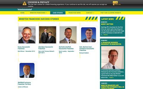 Screenshot of Case Studies Page minsterfranchise.co.uk - Minster Franchise Success Stories | Minster Franchise | - captured Aug. 17, 2015