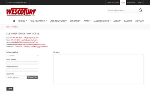 Screenshot of Contact Page wescoturf.com - Contact Wesco Turf - Wesco Turf - captured Oct. 13, 2016