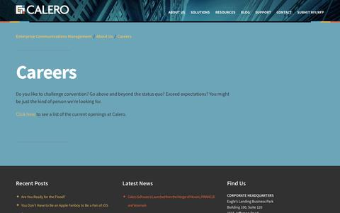 Screenshot of Jobs Page calero.com - Enterprise Communications ManagementCareers - captured Oct. 1, 2014