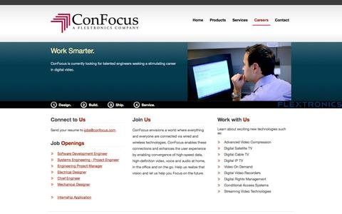 Screenshot of Jobs Page confocus.com - Careers | ConFocus, a Flextronics Company - captured Oct. 2, 2014
