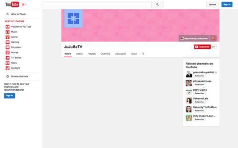 Screenshot of YouTube Page youtube.com - JuJuBeTV  - YouTube - captured Oct. 23, 2014
