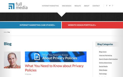 Screenshot of Blog fullmedia.com - Internet Marketing Blog | Full Media - captured Sept. 19, 2014