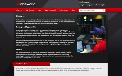 Screenshot of Jobs Page cineworld.co.uk - Careers | Cineworld Cinemas - captured Sept. 18, 2014