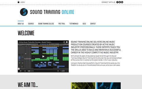 Screenshot of Home Page Contact Page Trial Page soundtrainingonline.com - About Sound Training Online - captured Sept. 22, 2014