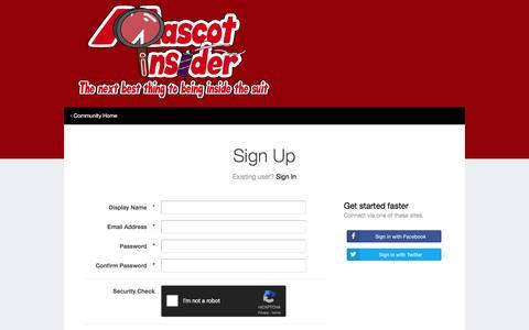 Screenshot of Signup Page mascotinsider.com - Registration - MascotInsider - captured Jan. 9, 2016