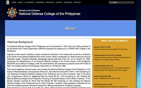 Screenshot of About Page ndcp.edu.ph - About | National Defense College of the Philippines - captured Oct. 26, 2017