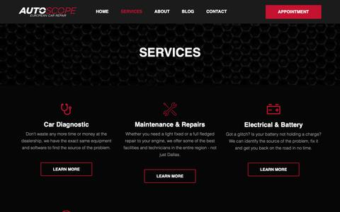 Screenshot of Services Page autoscope.co - European Auto Services & Repair in Dallas | Auto Repair - Autoscope - captured Oct. 4, 2018