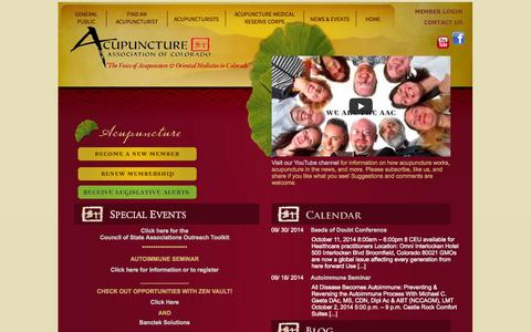 Screenshot of Home Page acucol.com - Acupuncture Association of Colorado | Acupuncture Denver | Find an Acupuncturist - captured Oct. 4, 2014