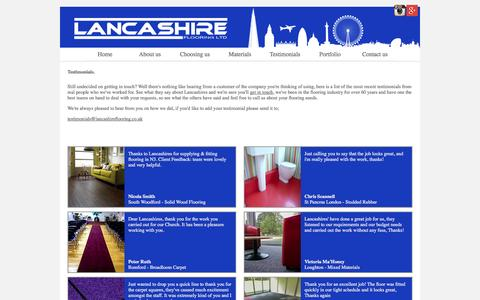 Screenshot of Testimonials Page lancashireflooring.co.uk - Contract Flooring Services | Customer Testimonials, Reviews, Comments, Feedback, Lancashire Flooring. - captured Oct. 1, 2014
