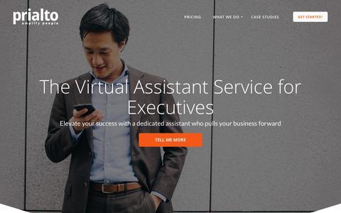 Screenshot of Home Page prialto.com - Prialto - Virtual Assistants for Savvy Executives - captured April 6, 2016