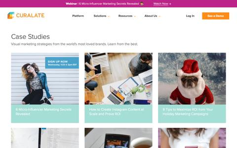 Screenshot of Case Studies Page curalate.com - Social Commerce Strategy and Ideas - Resources - Curalate - captured Jan. 28, 2019