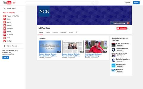Screenshot of YouTube Page youtube.com - NCRonline  - YouTube - captured Oct. 26, 2014