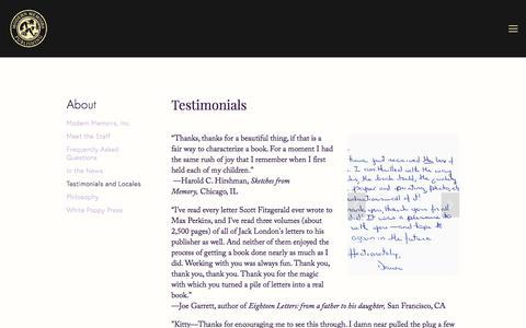 Screenshot of Testimonials Page modernmemoirs.com - Testimonials and Locales — Modern Memoirs, Inc. - captured Sept. 20, 2018