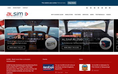 Screenshot of Home Page alsim.com - FNPT II MCC, FTD, AATD flight simulators | ALSIM - captured May 28, 2017