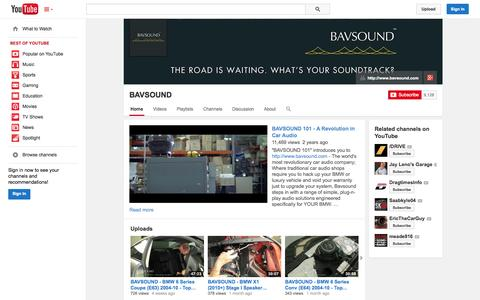Screenshot of YouTube Page youtube.com - BAVSOUND  - YouTube - captured Oct. 30, 2014
