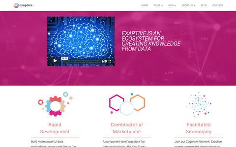 Screenshot of Home Page exaptive.com - Exaptive   Rapid Application Development - captured Jan. 22, 2016