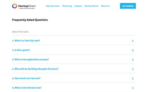 Screenshot of FAQ Page startupdirect.org - Answering Questions About Start Up Loans - Startup Direct - captured Oct. 29, 2014