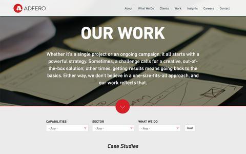 Screenshot of Case Studies Page adfero.com - Our Work | Adfero - captured Feb. 5, 2016