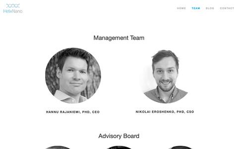 Screenshot of Team Page helixnano.com - Team — HelixNano - captured Sept. 28, 2018