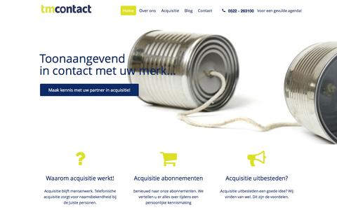 Screenshot of Home Page tmcontact.nl - TM Contact | Acquisitie anno nu! Het werkt. | Acquisitie anno nu! - captured Jan. 11, 2016