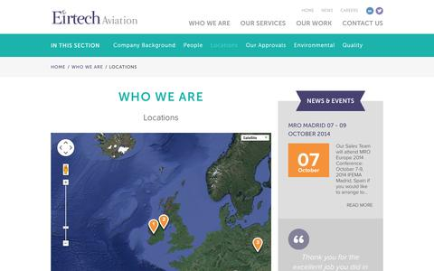 Screenshot of Locations Page eirtechaviation.ie - Eirtech Aviation | Aircraft Painting, Engineering and Asset Management Services - captured Oct. 2, 2014