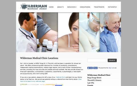 Screenshot of Locations Page drwilderman.com - Wilderman Medical Clinic Locations in OntarioWilderman Medical Clinic - captured Aug. 23, 2016