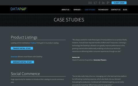 Screenshot of Case Studies Page datapop.com - Case Studies - DataPop - captured Oct. 28, 2014
