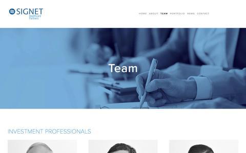 Screenshot of Team Page signethealthcarepartners.com - Team — Signet Healthcare Partners - captured Aug. 13, 2016
