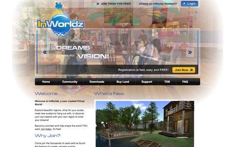 Screenshot of Home Page inworldz.com - Welcome to the Inworldz virtual world! - captured Oct. 28, 2015