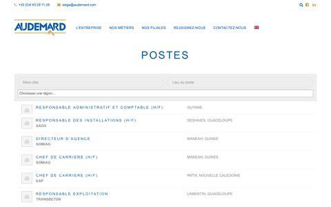 Screenshot of Jobs Page audemard.com - Postes - Audemard - captured Sept. 28, 2018