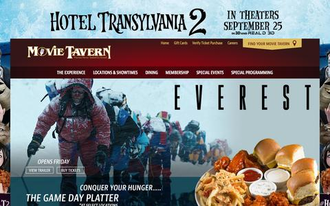 Screenshot of Home Page movietavern.com - Movie Tavern | Great Food, the Latest Movies, and a Full Bar - captured Sept. 24, 2015