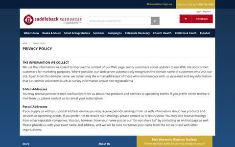 Screenshot of Privacy Page saddlebackresources.com - Privacy Policy | Saddleback Resources - captured Dec. 20, 2015