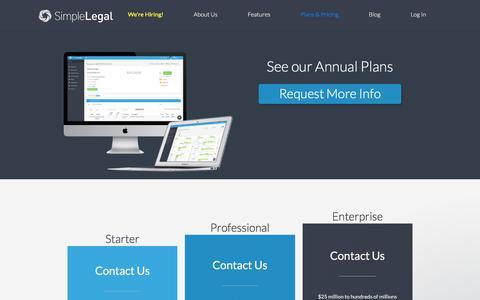 Screenshot of Pricing Page simplelegal.com - Karen says… - captured Sept. 7, 2017