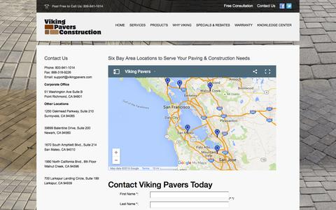 Screenshot of Contact Page vikingpavers.com - Viking Pavers Best Paving Company In Bay Area | Viking - captured Feb. 14, 2016