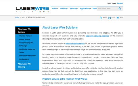 Screenshot of About Page laserwiresolutions.com - About Laser Wire Solutions - captured Nov. 3, 2018