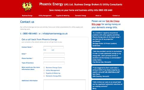 Screenshot of Contact Page phoenixenergy.co.uk - Property management services - captured Sept. 29, 2014