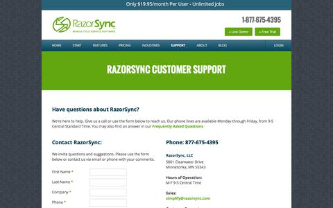 Contact RazorSync Customer Support - 877-675-4395