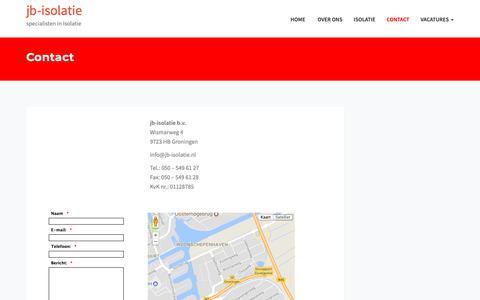Screenshot of Contact Page jb-isolatie.nl - Contact – jb-isolatie - captured Oct. 19, 2018