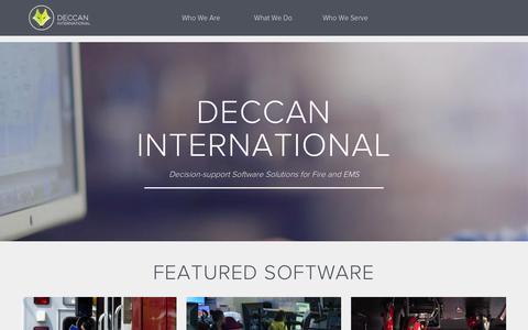 Screenshot of Home Page deccanintl.com - Fire Department and EMS Software | Deccan International - captured Sept. 12, 2015