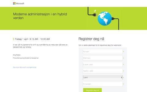 Screenshot of Landing Page microsoft.com - Moderne administrasjon i en hybrid verden - captured April 5, 2016