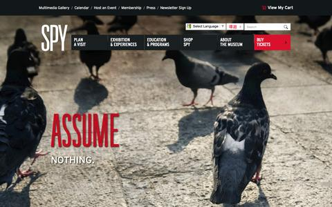 Screenshot of Home Page spymuseum.org - International Spy Museum - captured Oct. 15, 2015