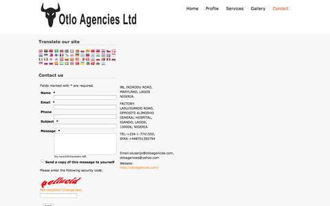 Screenshot of Contact Page otloagencies.com - Contact us - Otlo agencies - captured Oct. 26, 2014