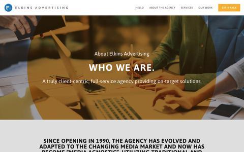 Screenshot of About Page elkinsadvertising.com - Elkins Advertising - Who we are — Elkins Advertising - captured Sept. 28, 2018