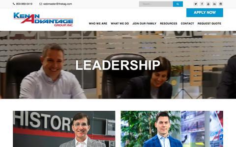 Screenshot of Team Page thekag.com - Leadership - Kenan Advantage Group - captured Sept. 20, 2018