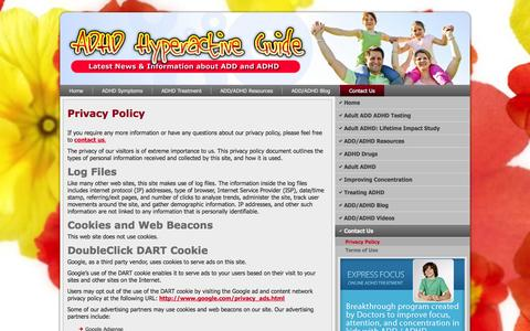 Screenshot of Privacy Page adhdhyperactive.com - Privacy Policy | ADHD Hyperactive Guide - captured Oct. 31, 2014