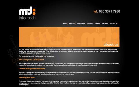 Screenshot of About Page mdinfotech.co.uk - Digital Agency - Web Design - Web Development London - MD Info Tech - captured Sept. 30, 2014