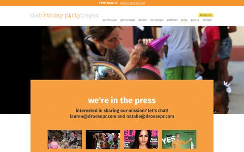Screenshot of Press Page thebirthdaypartyproject.org - Press - The Birthday Party Project - captured Nov. 25, 2017